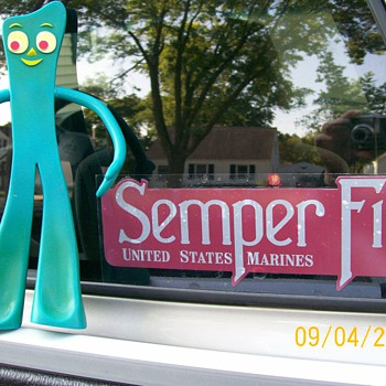 Gumby says Semper Fi  Marines . He was caught doing tricks in yard