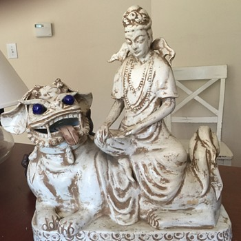 Foo Dog or shishi, with Quan-yin. - Asian
