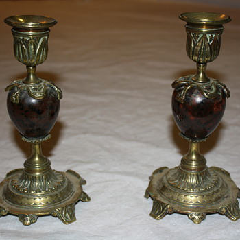 Bloodstone (?) & Brass Candlesticks