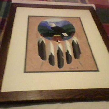 EAGLE OIL PAINTING - Folk Art