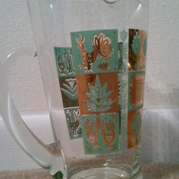 Spanish art water pitcher...gold and turquoise - Glassware