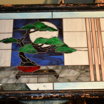 Broken Stained Glass Window with Bonsai - worth fixing? - Art Glass