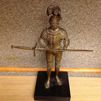 Solid Brass or Bronze Knight, Unknown Makers Mark - Figurines