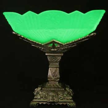 Art Deco Uranium Glass Bowl on Metal Stand...Maker Unknown
