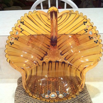 Amber Depression Era Hand painted Candy dish - Glassware