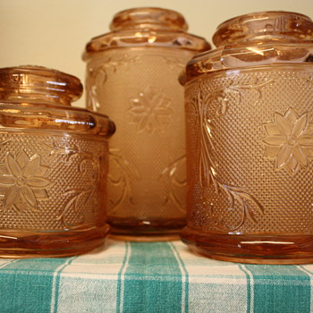 Pink Glass Canisters - Glassware
