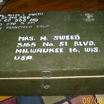 Old Military trunk . Date unknown Pre zip codes  - Military and Wartime