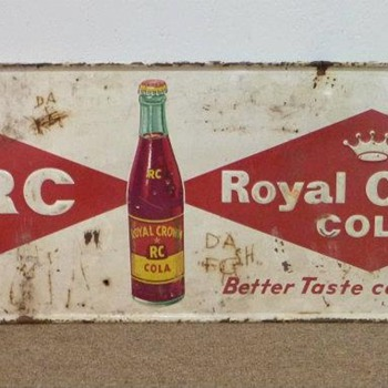 Vintage Metal Royal Crown Cola Sign - Advertising