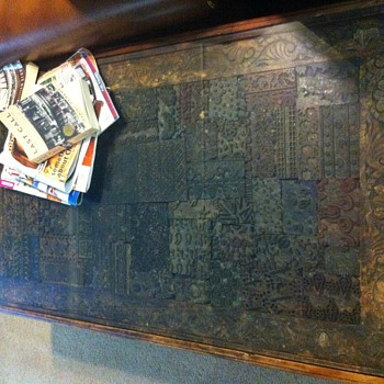 Table made from Indian printing block collection - Asian