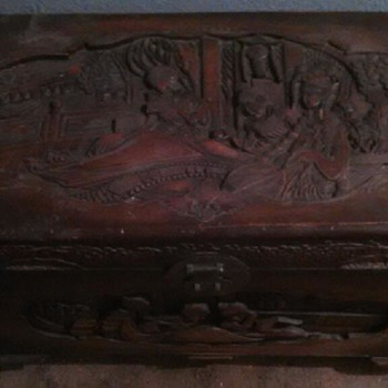 very old antique hand carved chests