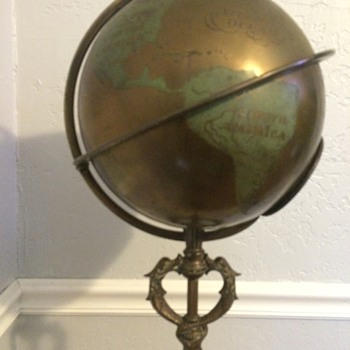 Brass/Bronze Globe Floor lamp with Cast Zodiac Calendar Base.
