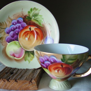 Vivid Fruit Cup and Saucer ~ Unidentified  - China and Dinnerware