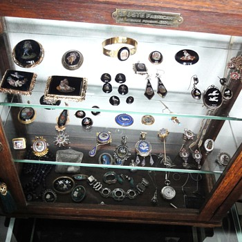 Antique antique dark oak display cabinet