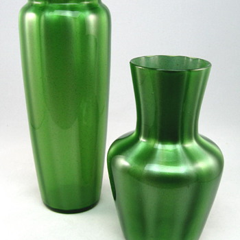 Loetz Metallin Grün Optisch Vases - Art Glass