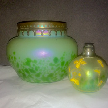 Kralik Green Oil Spot Iridized Metal Rim Bowl.  - Art Glass