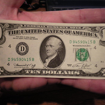 1974 ten dollar bill