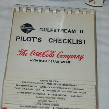 Grumman Gulf Stream II Pilot's Check List from a Coca Cola Executive Plane - Advertising