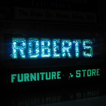 Early Robert's furniture store neon counter sign