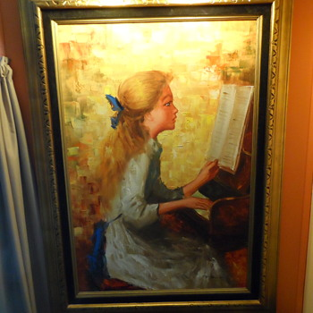 "Modern Painting of Renoir "" Girl Playing Piano"" - Visual Art"