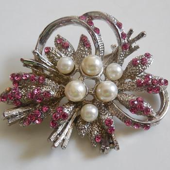 Pearl and Pink Rhinestone Silver-tone Pin.