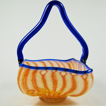 Czech Art Deco Glass Basket ca. 1920's 30's