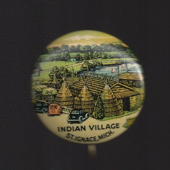 Indian Village St. Ignace, Michigan Pinback Button - Medals Pins and Badges