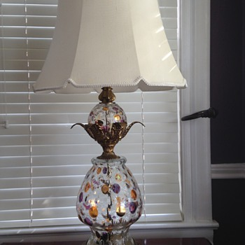 Pair of unusual double glass globe table lamps