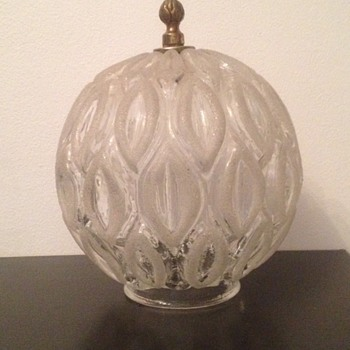 Mid Century Cast Textured Glass Ceiling Mount Light Fixture
