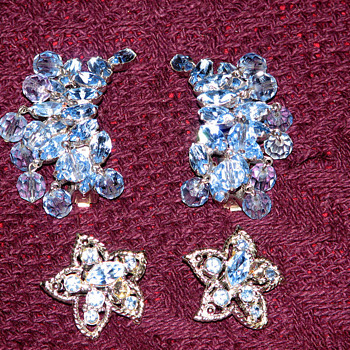 Two sets of Blue Crystal earrings... - Costume Jewelry