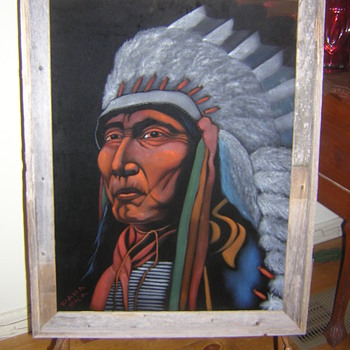 Original Paha Ska (White Hills) Lakota (Sioux) Velvet Painting Native American Art - Native American