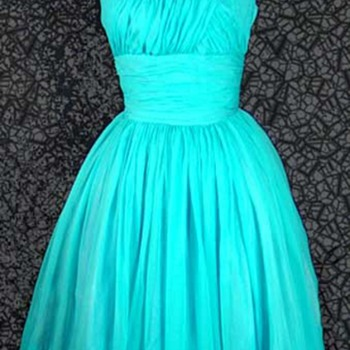 Bold Turquoise Silk Cocktail Dress by Gi Gi Young