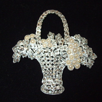 Vintage Pearl & Marcasite FLOWER BASKET Brooch- Recognize The Mark?