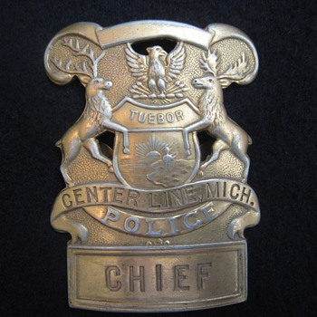 1936 Chief of Police Center Line MI Hat Badge