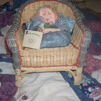 HAND MADE WICKER CHAIR & DOLL SITTER- VINTAGE--BUT HOW VINTAGE??..Probably 1960-70s?