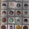 Political pin backs ,great britin vintage coins, oriental postcard ,etc..