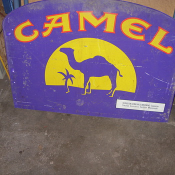 vintage metal double sided camel sign