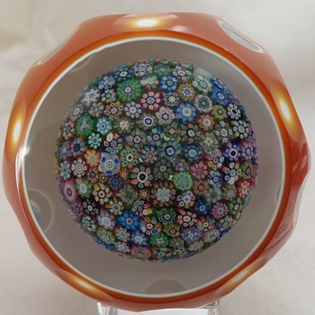 Perthshire 1981 Amber Double Overlay Close Pack Millefiori - Art Glass