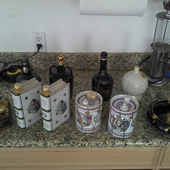 Collection of various Decanters, Camus, chivas, ballantines, Camus Ashtray