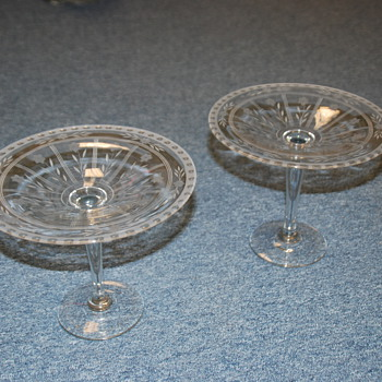 Crystal cut glass Pedestal Stands (2)  - Glassware