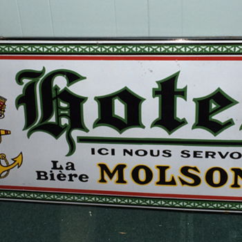 porcelaine sign molson  hotel  very scarce circa 1920  - Breweriana