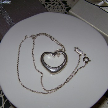 Tiffany & Co Sterling Silver Open Heart Necklace - Fine Jewelry