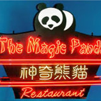 Vintage 1970's THE MAGIC PANDA RESTAURANT Neon Sign Asian Art * - Signs