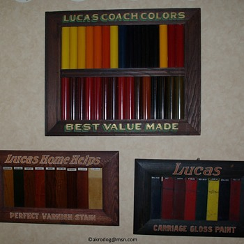Old paint color chip display signs