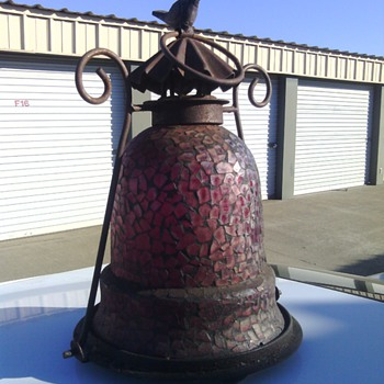 cast iron and red stained glass antique candle lamp