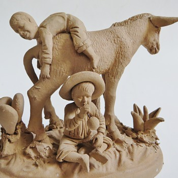 Wonderful little clay Sculpture~Boys with a Donkey~Mexican? - Pottery