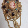 Florenza Faux Garnet & Turquoise Cabochon Carved Shell Cameo