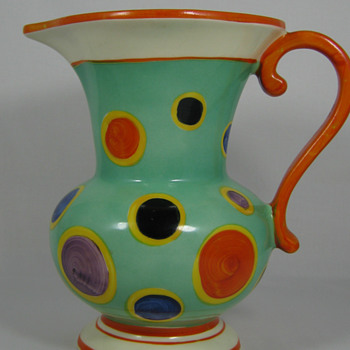 Czech Art Deco era Hand Painted Pottery Pitcher 1920's - 30's Great Deco Polka Dot decor