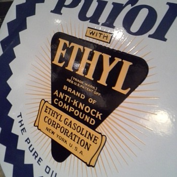 """(NEW INFO)"" On, Pure Oil Company Sign. (PUROL with ETHYL) New Pic's"