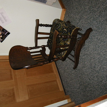 This was my great grandmas chair I believe the tag says chair number 24 anyone know anything about this chair??  - Furniture