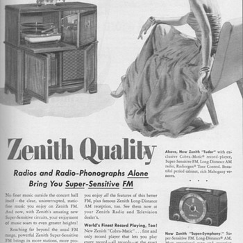 1951 - Zenith Radio/Phono Advertisement - Advertising